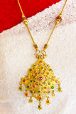 Gold  necklace of bride Royalty Free Stock Image