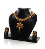 Gold Necklace With Earrings Stock Images