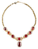 Gold necklace with gems isolated royalty free stock image