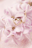 Gold necklace with heart on hyacinth Stock Photography