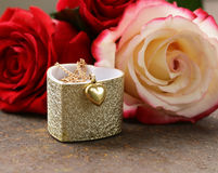 Gold Necklace Heart With Roses Flowers Royalty Free Stock Photo