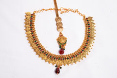 Gold Necklace. The Indian Traditional Gold Necklace royalty free stock photography