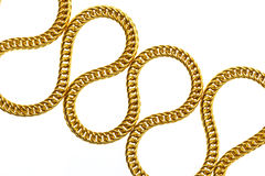 Gold necklace isolated on white Royalty Free Stock Images