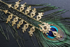 Gold necklace on peacock feather. Black background. Stock Image