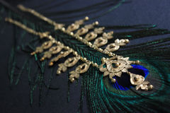 Gold necklace on peacock feather. Black background. Stock Photo