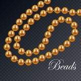 Gold necklace of pearls stock illustration