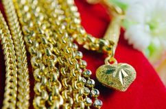 Gold necklace 96.5 percent Thai gold grade with flowers and uniq Stock Image