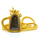 Gold necklace with thai buddha amulet in gold frame isolated on Royalty Free Stock Photography