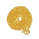 Gold necklace. On a white background Royalty Free Stock Images