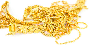 Gold Necklaces and Bracelets. A bunch of gold bracelets and necklaces Stock Photos