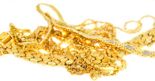 Gold Necklaces and Bracelets II. A bunch of gold bracelets and necklaces Stock Image