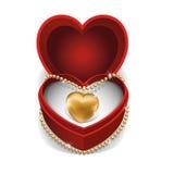 Gold Necklet in Red Velvet Box. Royalty Free Stock Image