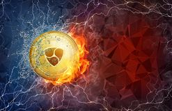 Gold NEM coin hard fork in fire flame, lightning and water splashes. Golden NEM coin in fire flame, water splashes and lightning. NEM blockchain hard fork Royalty Free Stock Photography