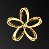 Gold neon abstract flower on black background. Gold neon abstract light effect flower on dark background. Vector golden logo for cosmetic, fashion, eco, bio stock illustration