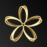 Gold neon abstract  flower  isolated on dark background. Vector light effect. Golden logo for  cosmetic, fashion, eco, bio company, yoga or spa salon Stock Photo