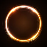 Gold neon circle banner Stock Image