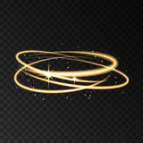 Gold neon circle speed motion lights effect with sparks. Gold neon circle speed motion lights effect with sparks isolated on black transparent background Royalty Free Stock Photos