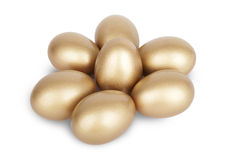 Gold nest eggs savings wealth Stock Photo