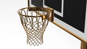 Gold net of a basketball hoop on various material and background, 3d render. Sports background, basketball hoop net Royalty Free Stock Photography