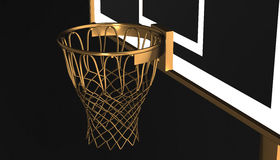 Gold net of a basketball hoop on various material and background, 3d render. Sports background, basketball hoop net Stock Photo