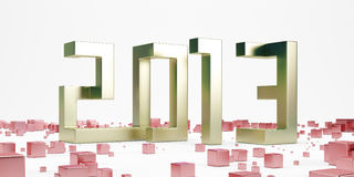 Gold new year 2013 with red cubes Stock Images