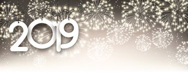 Gold 2019 New Year background with fireworks. Gold 2019 New Year poster with fireworks. Vector background royalty free illustration