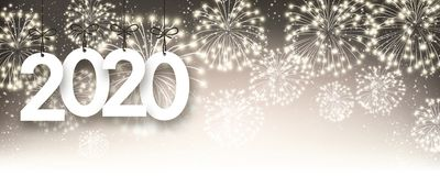Gold 2020 New Year background with fireworks. Gold 2020 New Year poster with fireworks. Vector background.r royalty free illustration