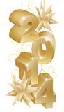 Gold New Year or Christmas 2014 Decorations Stock Images