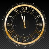 Gold New Year Clock On A Transparent Background Vector Royalty Free Stock Photography