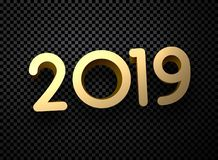 Gold 2019 New Year 3d sign on black transparent background. Christmas greeting card or poster template. Vector illustration.r vector illustration