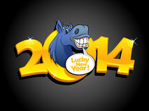 Gold 2014 new year design. Gold 2014 new year design with blue horse stock illustration