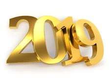 Gold 2019 new year figures leaned to the wall. Gold 2019 figures leaned to the wall. New Year 2019 calendar template. 3D rendering Stock Photos