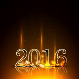 Gold 2016 New Year in illumination. Vector illustration EPS 10 Stock Image