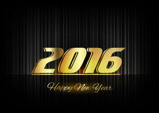 Gold New Year 2016 Luxury Symbol. New Year 2016. Gold numbers on the black background. Luxury design elements Stock Photos