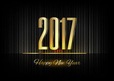 Gold New Year 2017 Luxury Symbol. New Year 2017. Gold numbers on the black background. Luxury design elements Stock Image