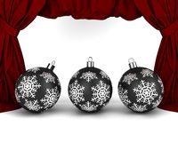 Gold New Year's balls. In front of red drapery royalty free illustration