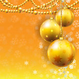 Gold New Year's spheres Royalty Free Stock Images