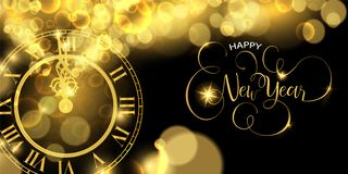 Gold New Years eve clock time luxury web banner. Happy New Year luxury golden web banner illustration, clock marking midnight time on black background royalty free illustration