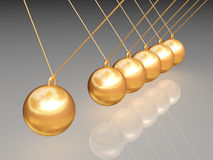 Gold newton balls. With reflection path included Stock Photos