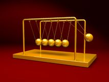 Gold Newton's Cradle. 3D golden Newton's Cradle background vector illustration