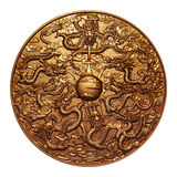 Gold nine dragon around the gold marble. On white Royalty Free Stock Photography