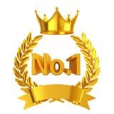 Gold No.1 emblem Stock Photos