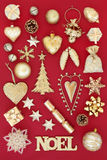 Gold Noel Christmas Decorations Royalty Free Stock Images