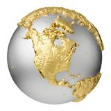 Gold North America. Gold, silver globe without water. North America. 3d rendering isolated on white background. Elements of this image furnished by NASA Stock Photos