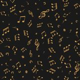 Gold note on black vector seamless music background.  Stock Illustration
