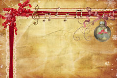 Gold Notes. Gold ornament with musical notes and red ribbon on vintage background stock illustration