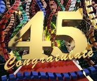 Gold Nr. fünfundvierzig mit dem Wort beglückwünschen zu einem Hintergrund von bunten Bändern und von Gruß Abbildung 3D Stockfotografie