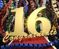 Gold Nr. sechzehn mit dem Wort beglückwünschen zu einem Hintergrund von bunten Bändern und von Gruß Abbildung 3D Lizenzfreies Stockbild
