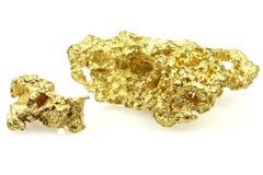 Gold nuggets. Found in Queensland/ Australia isolated on white background stock photos