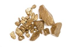 Gold nuggets ore. royalty free stock photography